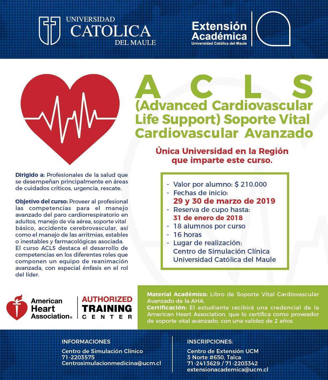 Nuevo curso ACLS 29 y 30 de marzo 2019