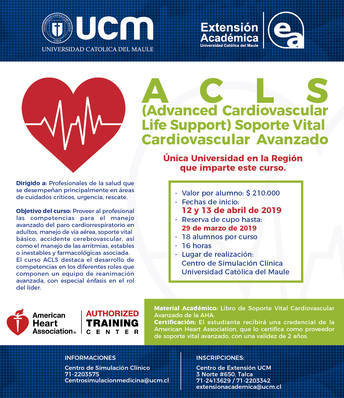 Nuevo curso ACLS 12 y 13 de abril de  2019